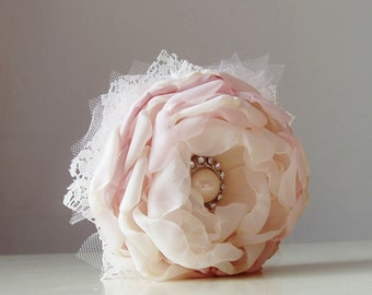 Fabric Flower Corsage,  Wrist Corsage,  Wedding Corsage,  Pearl Bracelet, Light Pink/Blush Corsage