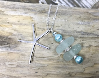 Turquoise sea glass pendant with silver star fish charm - jewellery - sea glass jewelry - necklace 0144