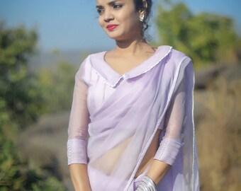 Lavender Breeze Pure Silk-Organza Hand Embroidered Saree