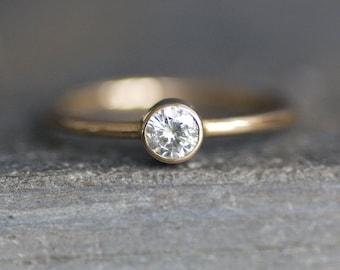 Moissanite Simple Engagement Ring - 14K Yellow Gold Band - 4mm Ethical Gemstone - Diamond  Alternative - READY TO SHIP (Size 6.25 / Resize)