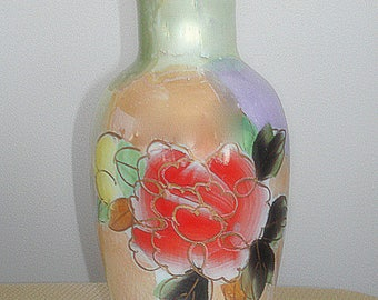 Lusterware Vase Vintage Hand Painted Porcelain in Elegant Watercolor Style Iridescent Metallic Glaze Effect Large in Size