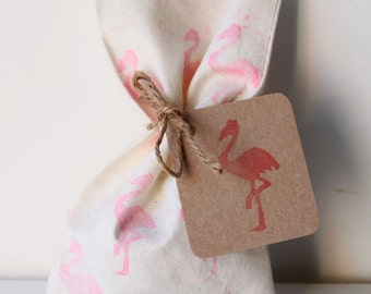 FLAMINGO Favour Bags - PINK flamingo, flamingo party favours (flamingo tag Optional extra)