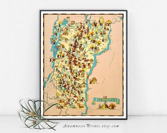 VERMONT MAP PRINT - map art print - vintage picture map for framing and gift giving - illustrator Ruth Taylor White - colorful wall decor