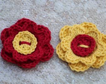 Crochet flowers, Applique flowers, Spring decor, Artificial flowers, Flowers, Spring flowers,  Gift wrap topper, Set of 2 fake flowers