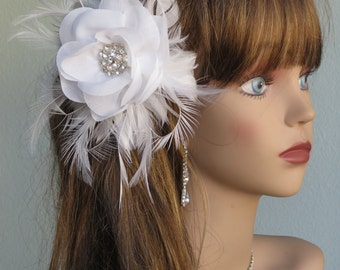 White (Ivory) Wedding Headpiece  Fascinator Wedding Hair Clip Wedding Accessory Crystals