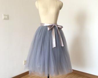 Elastic Waist Light Grey Tulle Short Skirt