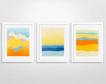 Colorful Wall Art Prints Set of 3, Art Prints Abstract, Large Wall Art, Abstract Art for Wall Decor, Modern Nursery Art, Landscape Art