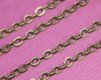 10 ft of antiqued brass flat cable chain 3X3mm