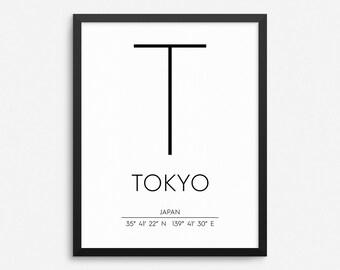 Tokyo Japan Print, Tokyo Poster, Tokyo Coordinates Printable, Tokyo Wall Art, Tokyo Decor, Travel Poster