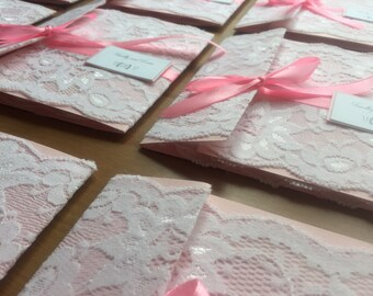 Lace pink wedding invitations