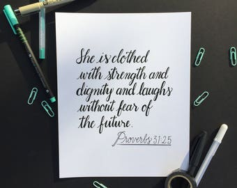 Proverbs 31 Handlettered Art Print, Faux Calligraphy Bible Verse, Inspirational woman quote