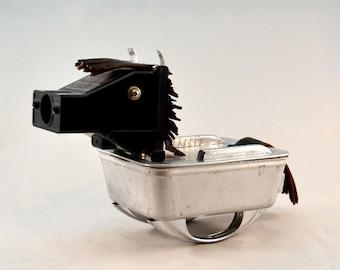 BULLSEYE, Assemblage Art Recycled Robot Sculpture, Found Object Rocking Horse Robot