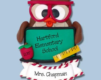 Owl with Blackboard Teacher / School  HANDMADE POLYMER CLAY Personalized Christmas Ornament Limited Edition