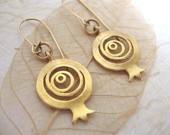 Gold pomegranate earrings , Pomegranate jewelry , Handmade by Adi Yesod