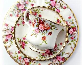 Royal Albert Cottage Garden Vintage Tea trio set - demitasse cup; saucer and plate