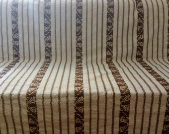 White and Brown Handwoven on Loom.  Blanket Bedspread Throw Coverlet Sofa. 180 x 200cm. Free Shipping