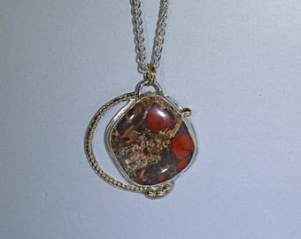Jasper Pendant, Silver and Gold, Brown, Red and Gold Stone Pendant, Elegant Pendant, Brecciated Jasper Cabochon, Earth tones, for her
