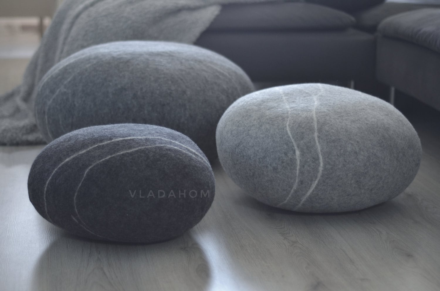 Rock Floor Pillows : Felted wool stone Floor cushions Pouf Floor pillows