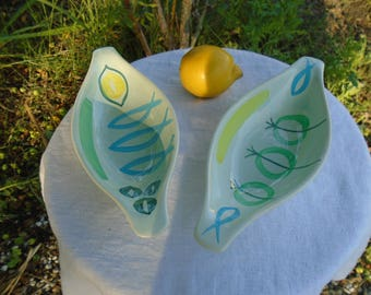 Small ceramic dishes - stamped DIGOIN SARREGUEMINES - 4 seasons Collection - 60's
