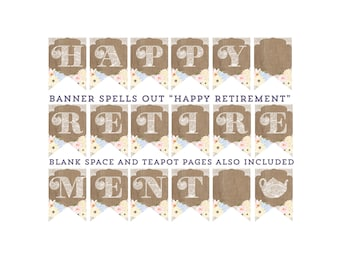 Happy Retirement banner, boho leaving do decorations, retirement party decor, burlap retirement party, instant download banner, boho party