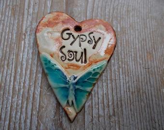 Gypsy Soul  Heart Pendant Ceramic Pendant Artisan Style Essential Oil Diffuser Pendant