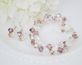 Crystal jewelry set, Amethyst bridal bracelet and earring set, Swarovski crystal wedding set, Blush bridal bracelet and earring set