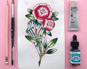 Skeleton Hand and Roses Tattoo Flash Watercolor PRINT by Michelle Kent