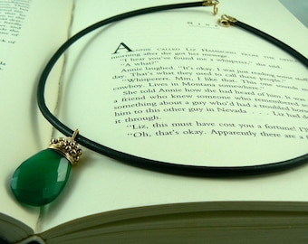 Green Onyx/Gold Filled on Black Leather Necklace