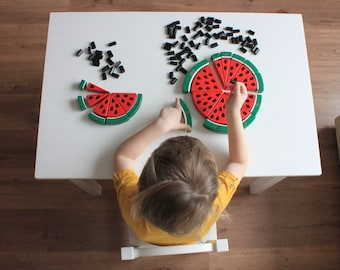 Watermelon BIG wooden counting puzzle (1-10), Math game set, Montessori educational toy, Preschool math, Math activities