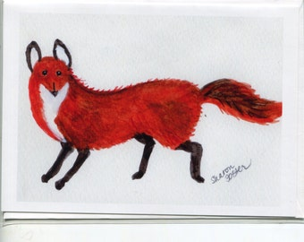 Fox greeting card, fox blank card, fox illustration card, fox art, blank card, animal card