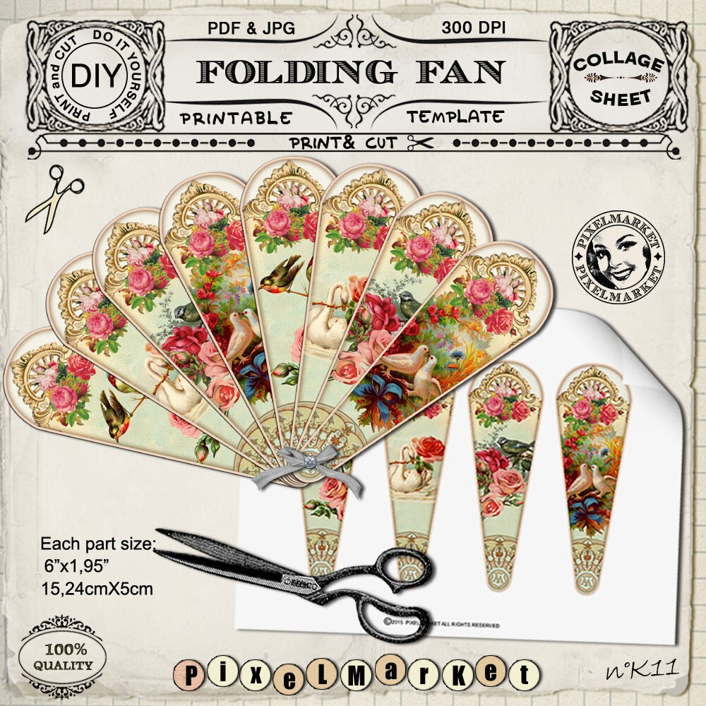 victorian hand fan template printable folding fan diy. Black Bedroom Furniture Sets. Home Design Ideas