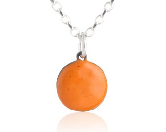 Orange Enamel Dot Necklace