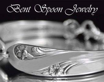 Silver Spoon Bracelet, Vintage Spoon Bracelet,  Romance 1952,  Silverware Jewelry, Wedding Bracelet
