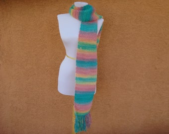 Unforgettable Scarf: CANDY Scarf for Women in Pastel Pink, Yellow, Green and Blue - Crocheted Scarf - Kawaii Scarf - Teenage Girl Scarves