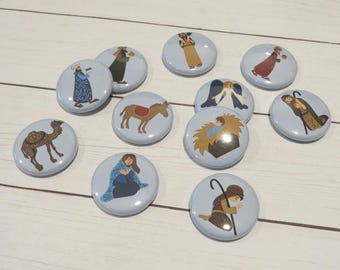 Nativity Flair Buttons, Set of 11, 1 inch, Jesus, Joseph, Mary, 3 Kings, Donkey, Camel, Planner, Cards, Scrapbook Embellishments, F046/F046C