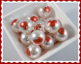 20mm Printed RED HEART acrylic pearl beads VALENTINE