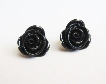 Resin Flower Earrings, Resin Earrings, Resin Cabochons, Cabochons Earrings, Flower Earrings, Rose Earrings, black rose earrings, black post
