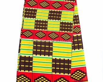 Wholesale Kente fabric/ yellow, red African fabric / African Kente fabric / Kente print/ Kente / Kente Cloth/Sold per 6 yard KF300