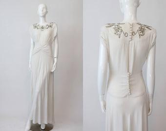 40s Emma Domb Dress XS / 1940s Vintage Beaded Wedding Dress / Embroidered Goddess Dress