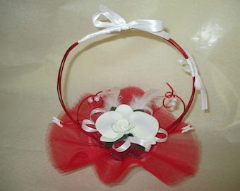 Basket holder, red and white