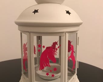 Pink Unicorns, Cream Lantern, Tealights