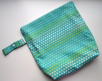 Wet /Dry Bag with Snap Handle - Waterproof Zipper Bag in Teal Triangle Ombre