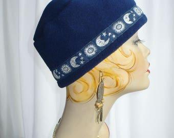 Navy Blue Fez Cap Celestial Trim for Men and Women