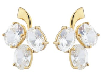 14Kt Yellow Gold Plated White Sapphire Oval Shape Design Stud Earrings