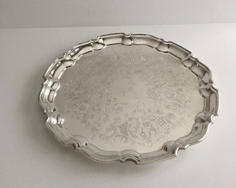Vintage Large Round Silver Plated Platter / Tray by Marlboro Morton Parker, Platter, Serving, Dish, Table Decor, Bar Ware