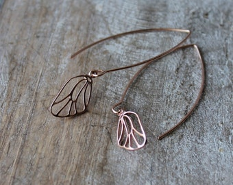 Dragonfly wings rose gold vermeil on sterling silver dangle earrings