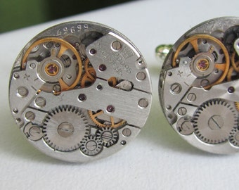 Steampunk Cuff links with small vintage watch movements Mens gears gift for a men Father of the bride Clockwork Cuff links Gift for Him