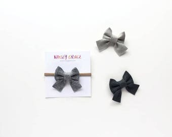 Baby Bows, Sailor Bow, Baby Headband, Nylon Headband, Newborn Bows, Felt Headband, Hair Bows, Girls Hair Clips, Schoolgirl Bows, Infant Bow
