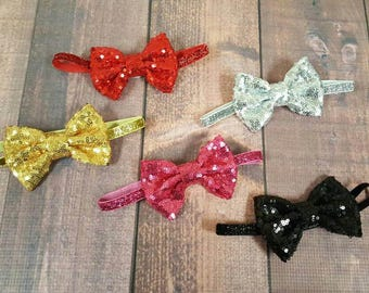 Sequin Bows, Baby Headbands, Infant Accessories