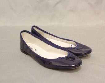 REPETTO Patent Blue leather Ballerina - Blue Patent Ballet Shoes Repetto Size 37.5 / 7